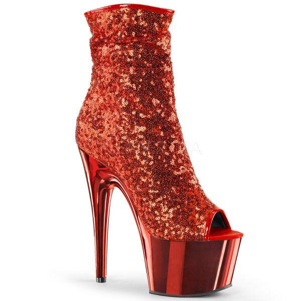 Open Toe Stiefelette mit roten Pailletten und rot verchromtem Plateau ADORE-1008SQ